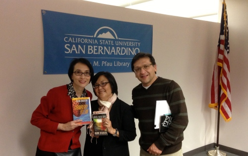 me, Naomi Hirahara, and poet Juan Delgado